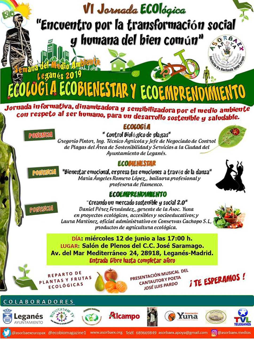 """VI Jornada ECOlógica """"Encuentro por la transformación social y humana del bien común"""""""